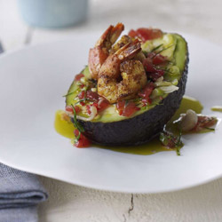 Avocados & Pawns with Lime & Tomato Salsa